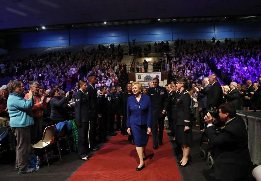 Janet Mills arrives at her inauguration ceremony prior to becoming Maine's 75th governor, Wednesday, Jan. 2, 2019, at the Augusta Civic Center in Augusta, Maine. Mills, a Democrat, is the state's first female governor. (AP Photo/Robert F. Bukaty)