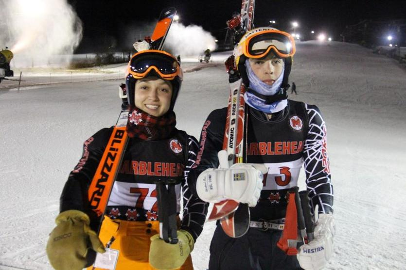 Marblehead ski captains Maddie McKay (left) and Sam Thompson pose for a photo before Thursday's Mass Bay Ski League East meet at Ski Ward in Shrewsbury. Thompson was the top skier on the boys side with a score of 96, while McKay (91 points) finished tied for second amongst the girl for 13schteam. (Matt MacCormack)