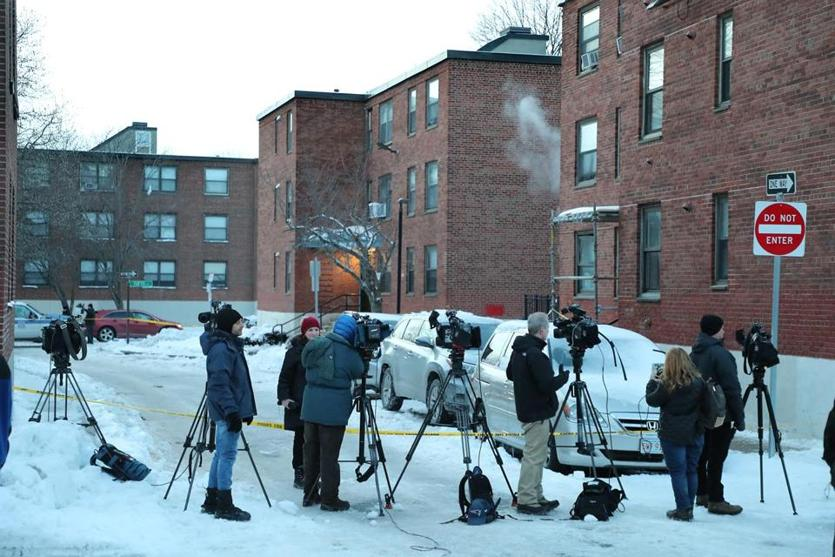 Charlestown MA 1/22/19 The housing complex where Boston Police arrested in connection to the weekend disappearance of 23-year-old Olivia Ambrose, who was last seen Saturday night near a downtown bar. (photo by Matthew J. Lee/Globe staff) topic: 21fans reporter: