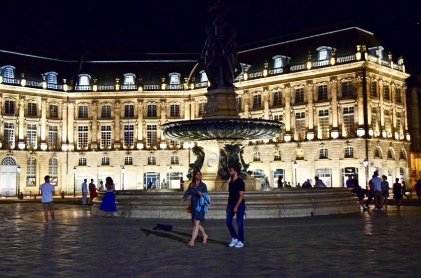 The Place de la Bourse in Bordeaux on a balmy summer night.