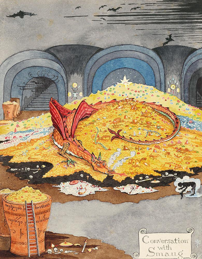 "J.R.R. Tolkien, ""Conversation with Smaug,"" July 1937 © The Tolkien Estate Limited 1937."