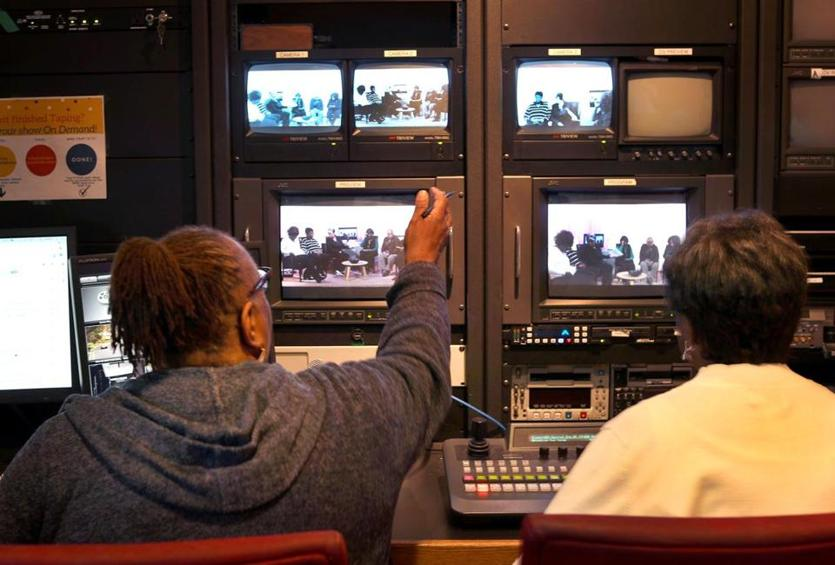 Roxbury 02/27/19- The show, Seniors on the Move was recording one of their programs in the studios at BNN. THe control room monitors the production. Photo by John Tlumacki/Globe Staff(business)