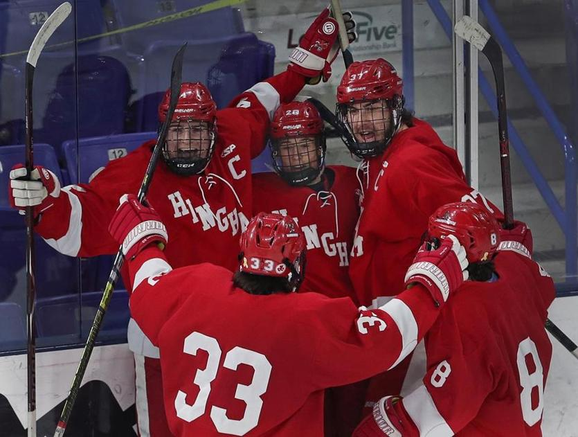 Hingham's Jake Higgins (back left) and Will Kenney (back right) are scheduled to skate at Canton Ice House.