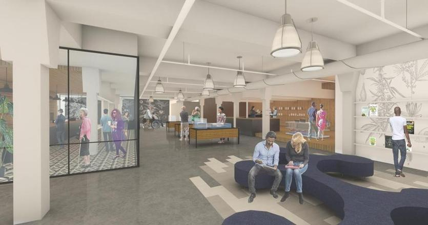 A rendering of Core Empowerment's recreational marijuana shop and social justice museum, proposed for Hyde Square in Jamaica Plain.