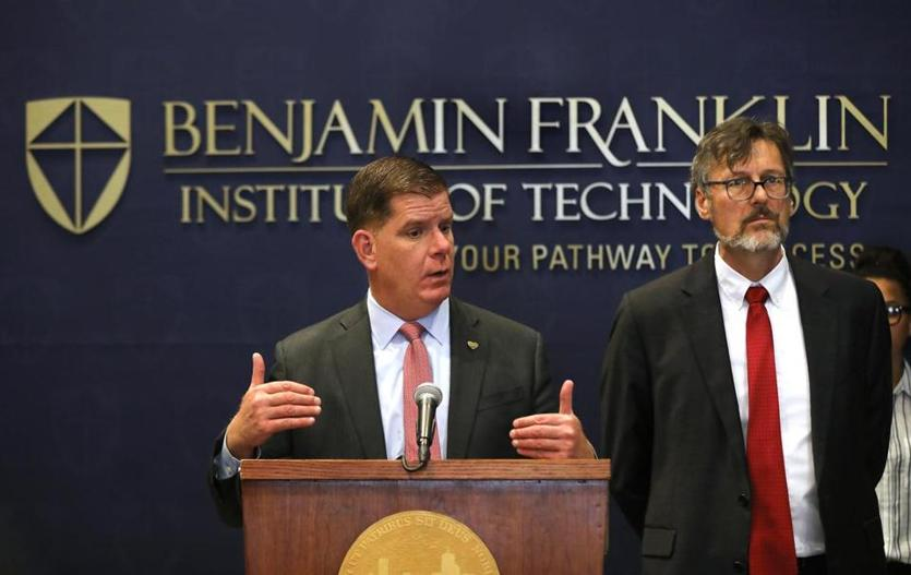 Boston Mayor Martin Walsh and Tony Benoit, president of the Benjamin Franklin Institute of Technology, spoke.