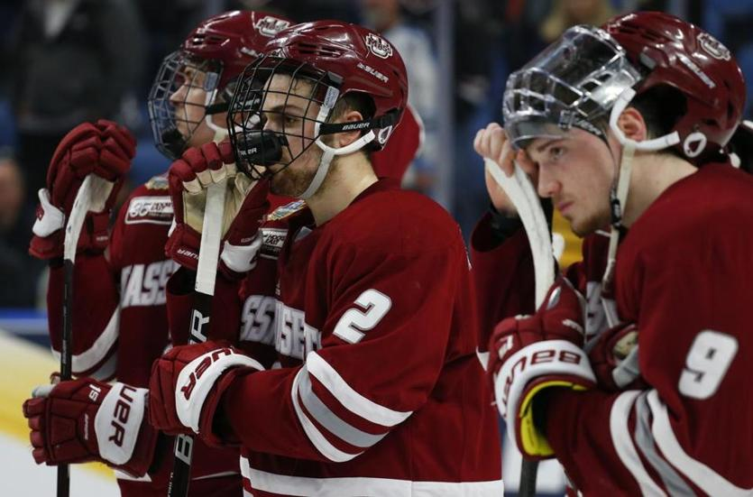 UMass players can't hide their disappointment after losing to Minnesota Duluth in the NCAA men's hockey championship game.