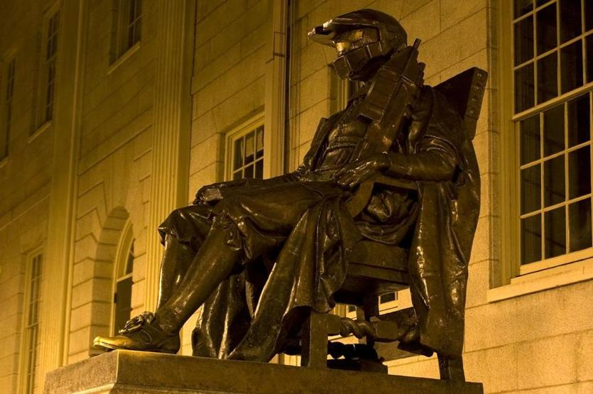 "In 2007, MIT hackers transformed the John Harvard statue at their rival school into Master Chief, a character from the ""Halo"" video game series."