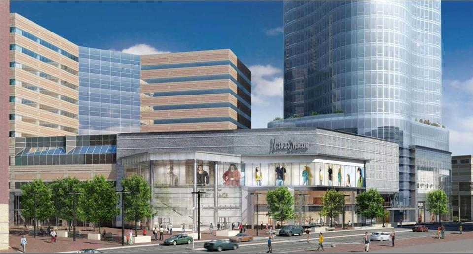 for Business - 17copleytower - Rendering of proposed 47-story tower and department store that Simon Property wants to build at Copley Place. (Handout from Elkus Mandredi Architects)