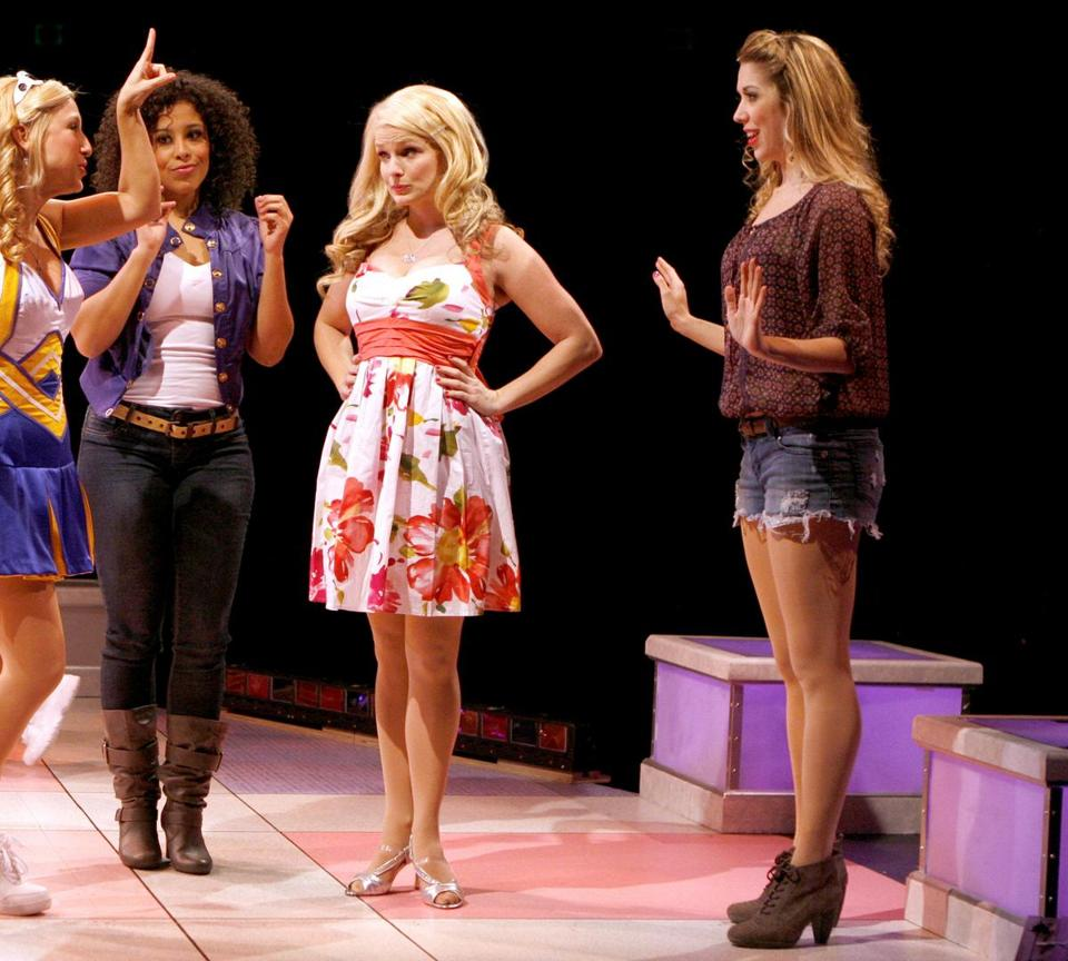 Kelly Felthous (second from right) as Elle with (from left) Tiffany Engen, Allysa Shorte, and Sara Andreas in the North Shore Music Theatre's ''Legally Blonde.''