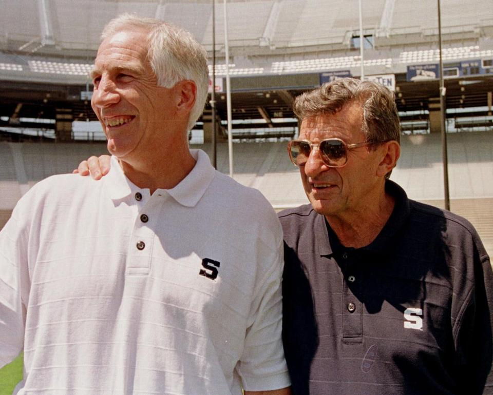 Jerry Sandusky, left, was once considered the heir apparent to Joe Paterno.