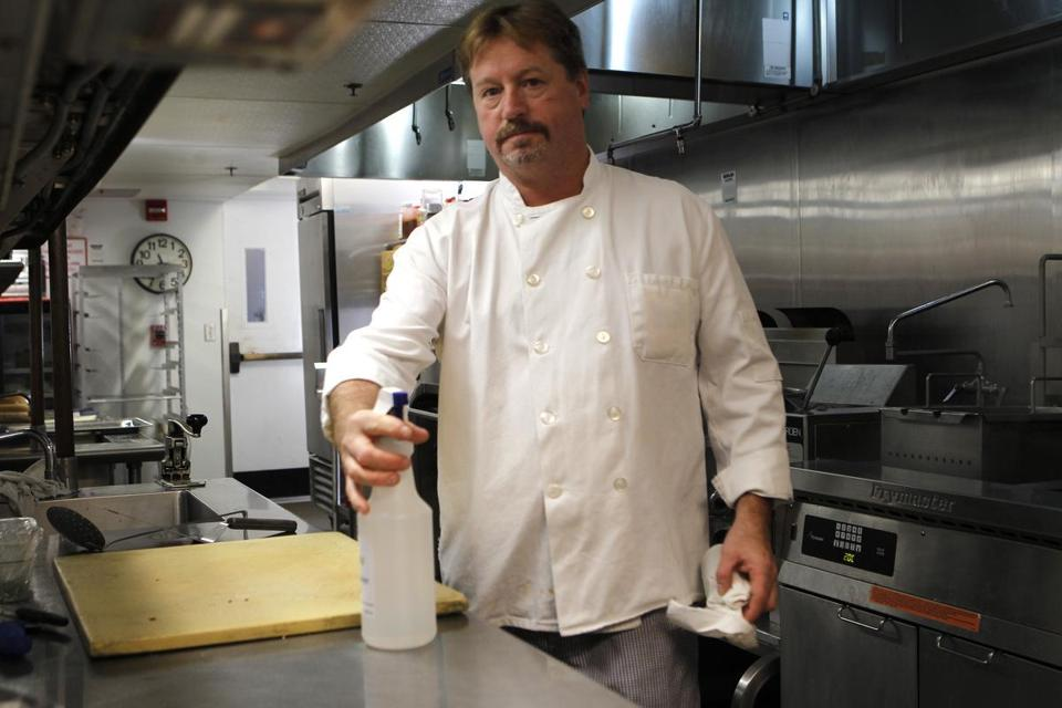 Executive chef Eddie Cerrato uses the electrolyzed water as a sanitizer.