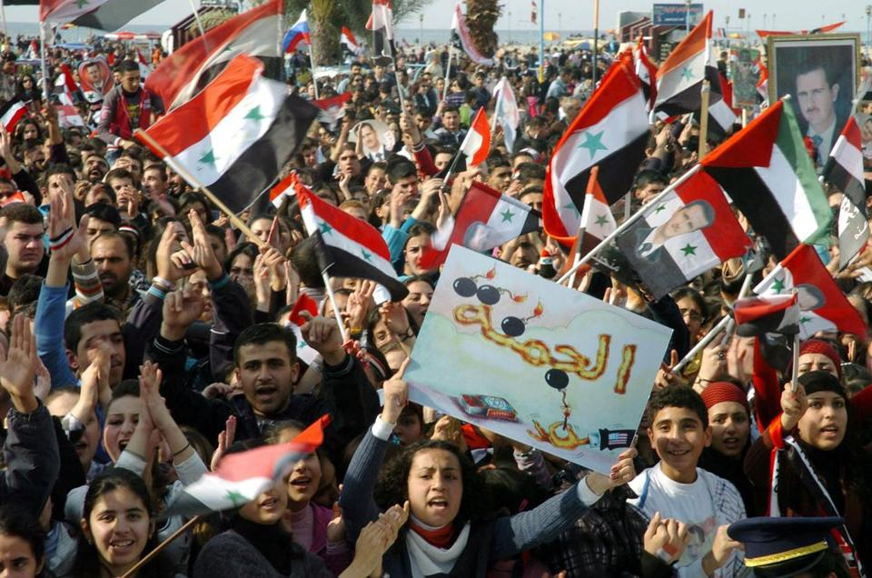 Demonstrators rallied for President Bashar Assad in Tartus, Syria, where support for his regime remains strong.