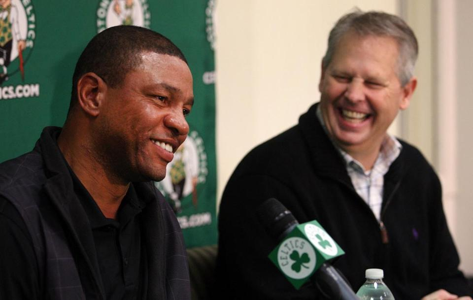 Doc Rivers , left, and Danny Ainge spoke at a 2011 news conference.