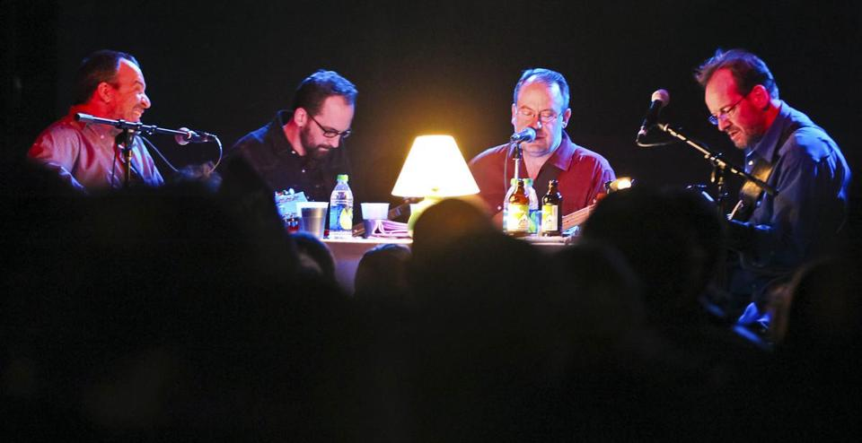 The Scud Mountain Boys performed sitting around a table on  Saturday at Brighton Music Hall.