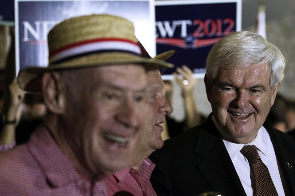 Republican presidential candidate former House Speaker Newt Gingrich met with supporters during an event at the Cambier Park Bandstand.