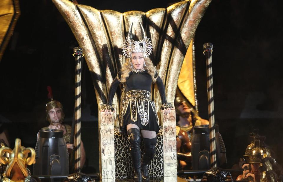 Madonna performed during the Super Bowl XLVI halftime show at Lucas Oil Stadium in Indianapolis.