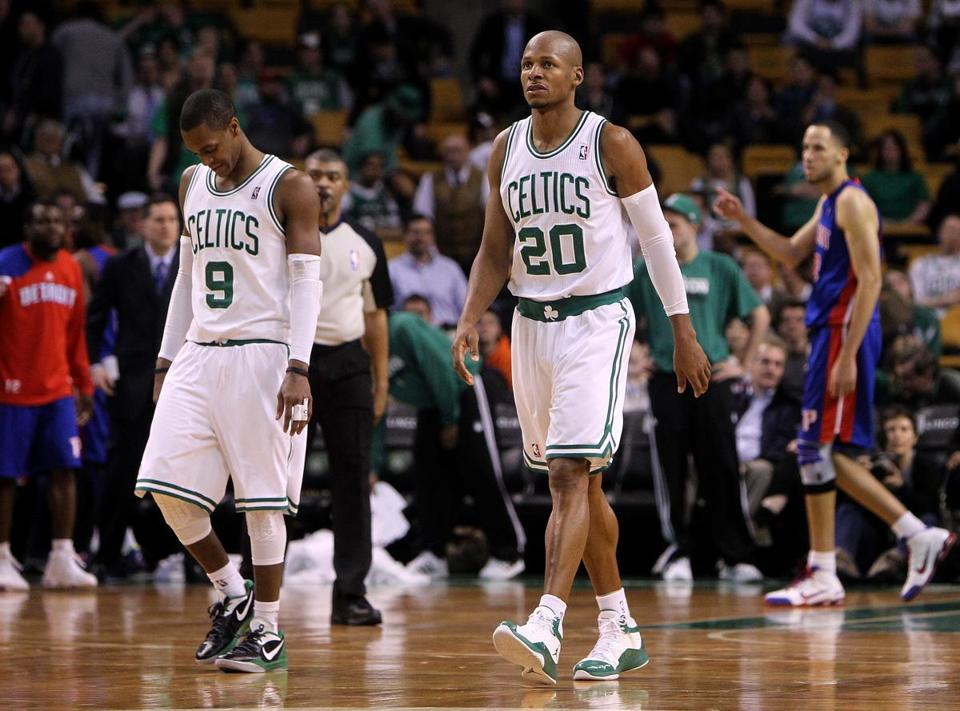 A loss to Detroit wasn't the way Rajon Rondo (left), Ray Allen, and the Celtics wanted to go into a road trip.