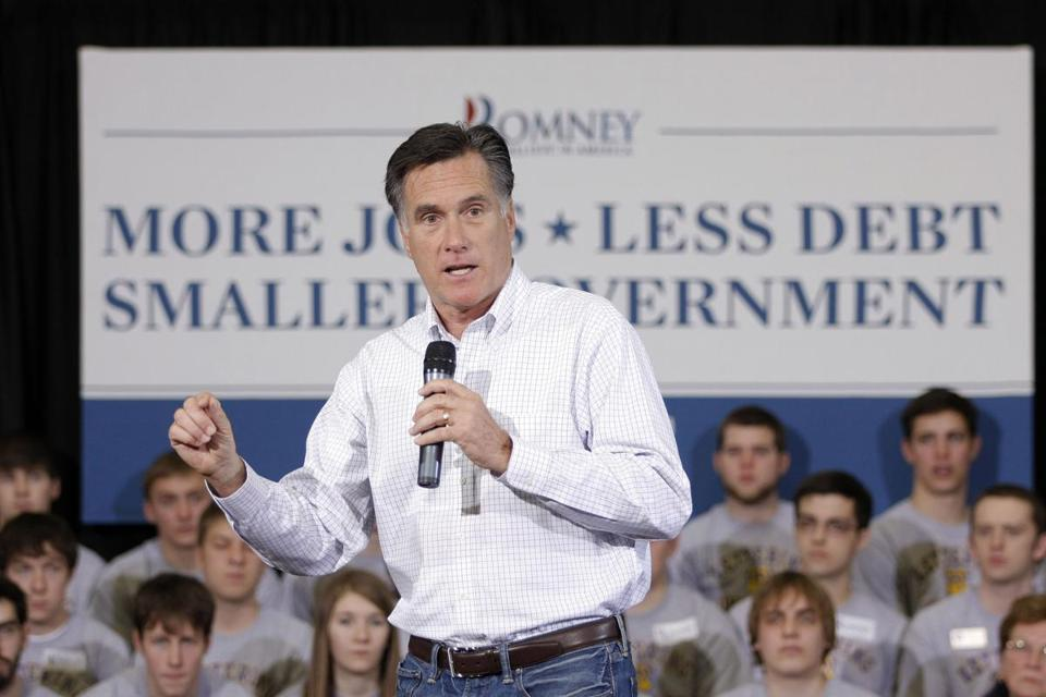 Mitt Romney spoke at a rally at the Kettering University Recreation Center yesterday in Flint, Michigan.