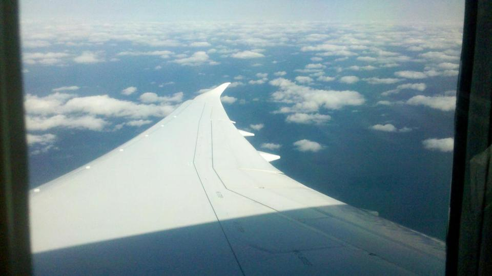 View from the new Boeing 787 Dreamliner.