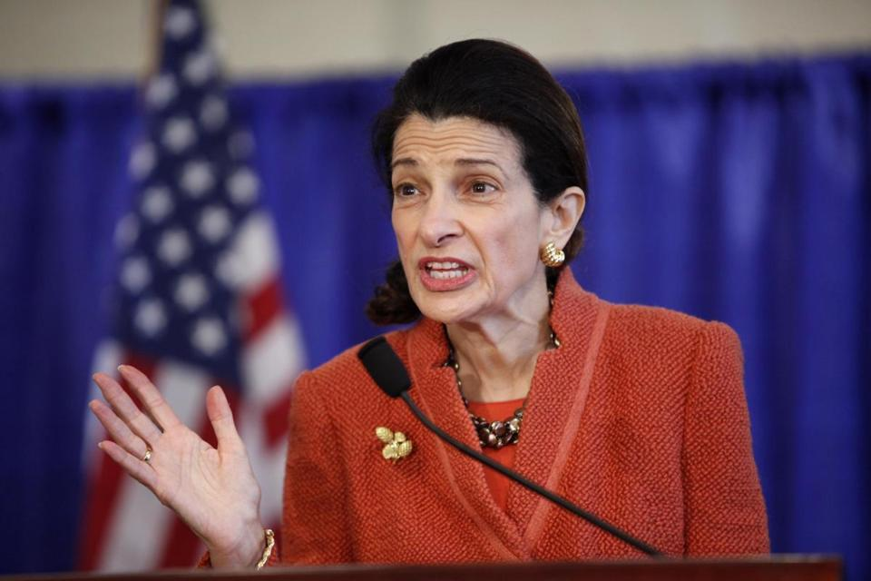 Senator Olympia Snowe spoke at a news conference in Maine last week.