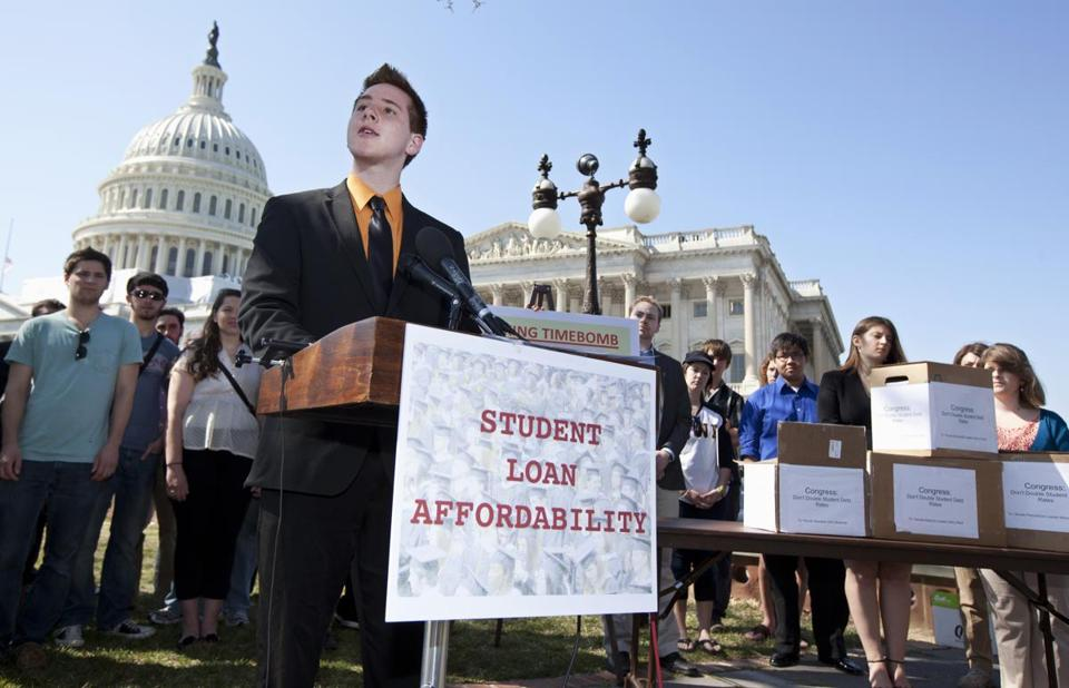 Northern Arizona University freshman Tyler Dowden, 18, spoke during a news conference on Capitol Hill to announce the collection of over 130,000 letters to Congress to prevent student loan interest rates from doubling this July.