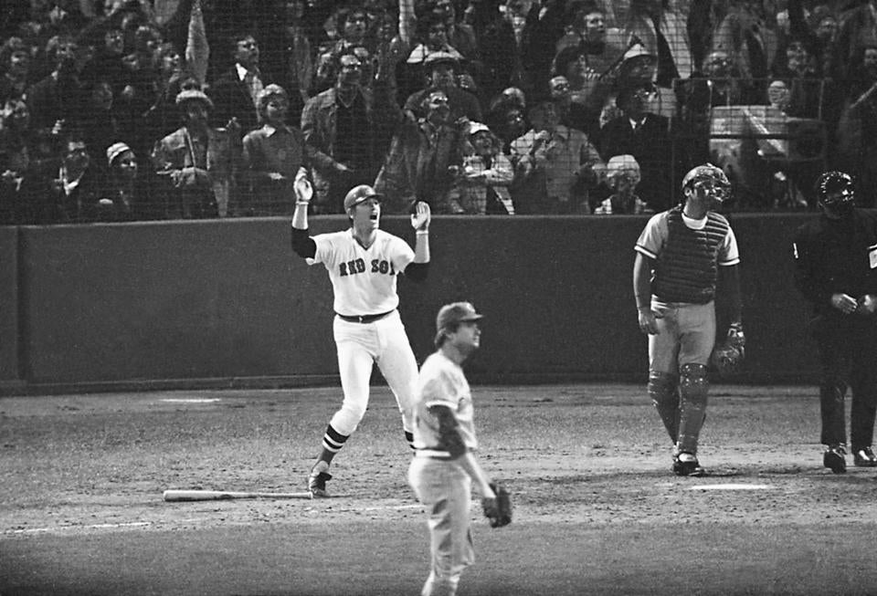 Carlton Fisk tried to wave his home run into fair territory before it eventually hit off the foul pole to end the game.