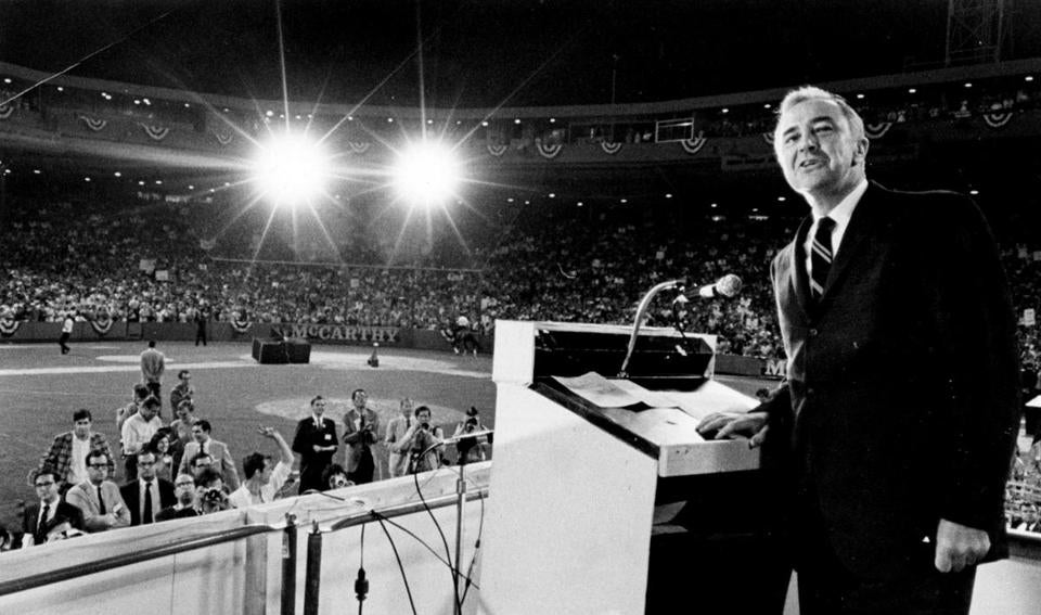 Sen. Eugene McCarthy spoke to a packed house at Fenway Park.