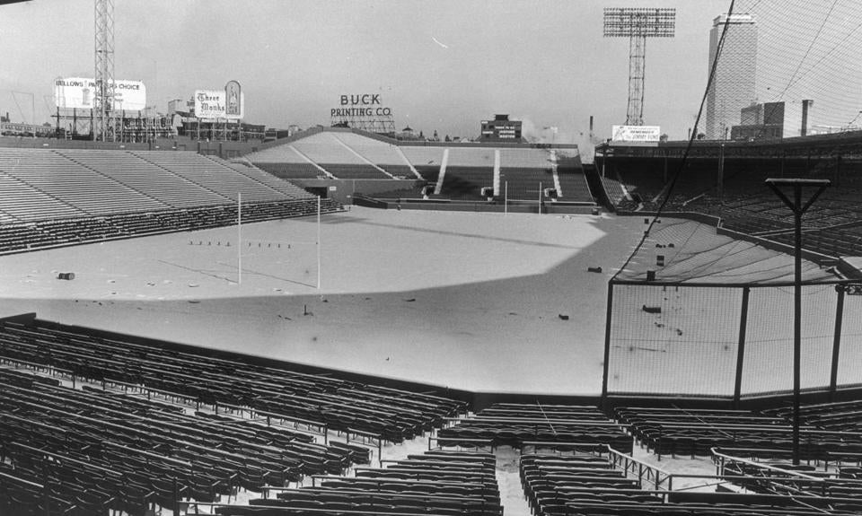 Fenway Park was converted into a home for the Patriots starting in 1963. This photo was taken in December 1964 after snow fell.