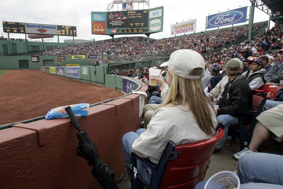 In this 2005 game, Carmen Roberts sat in a right-field seat that faces the bleachers.