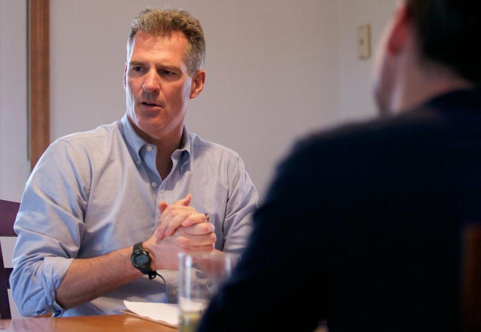 Senator Scott Brown talked about his campaign in Chelmsford last month.
