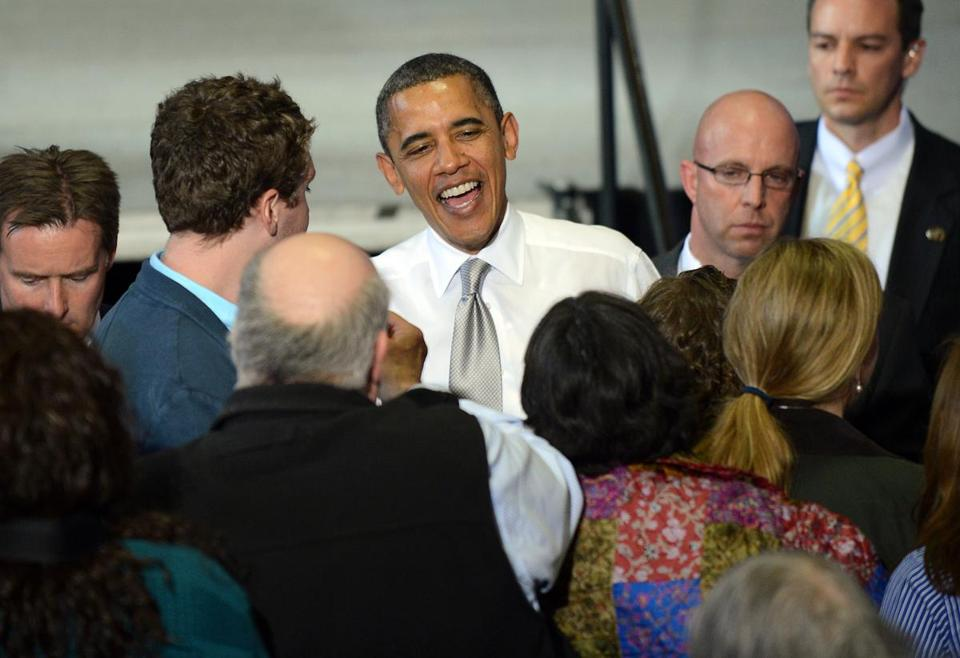President Obama greeted supporters Friday at a fund-raising event in Burlington, Vt.