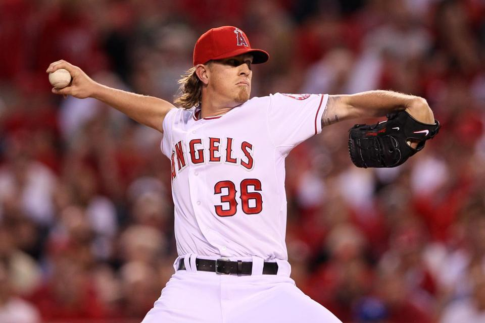 Jered Weaver of the Los Angeles Angels pitched in the first inning against the Kansas City Royals on April 6.