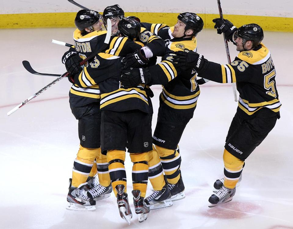 The lone goal by Chris Kelly set off a celebration by the Bruins.