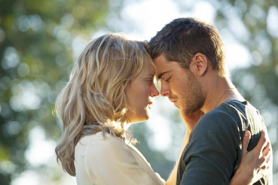 "Taylor Schilling and Zac Efron in ""The Lucky One."""