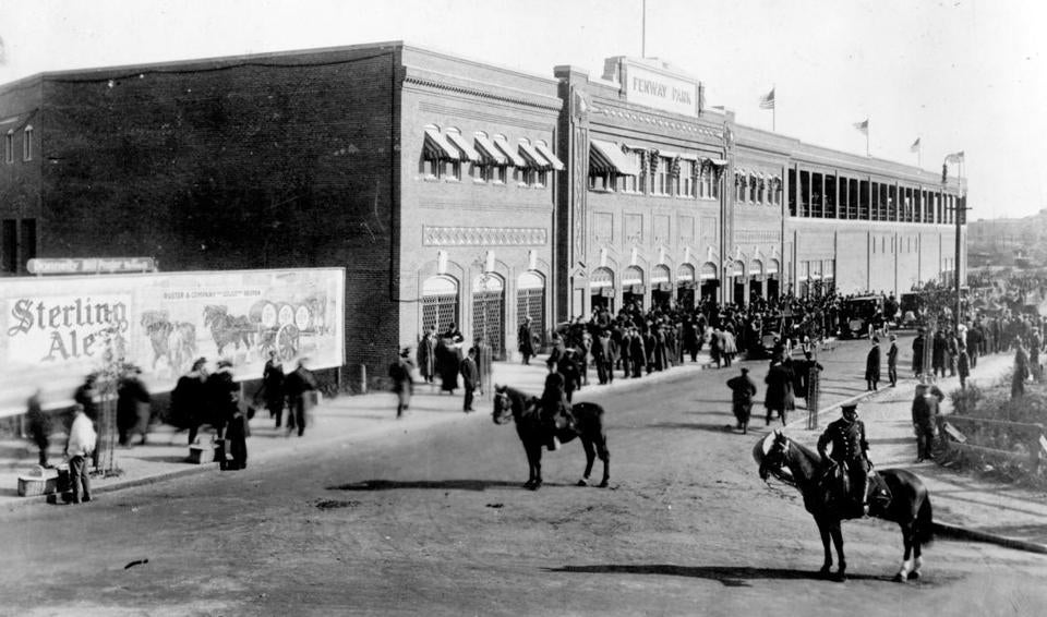 Outside Fenway Park on its first Opening Day in 1912.
