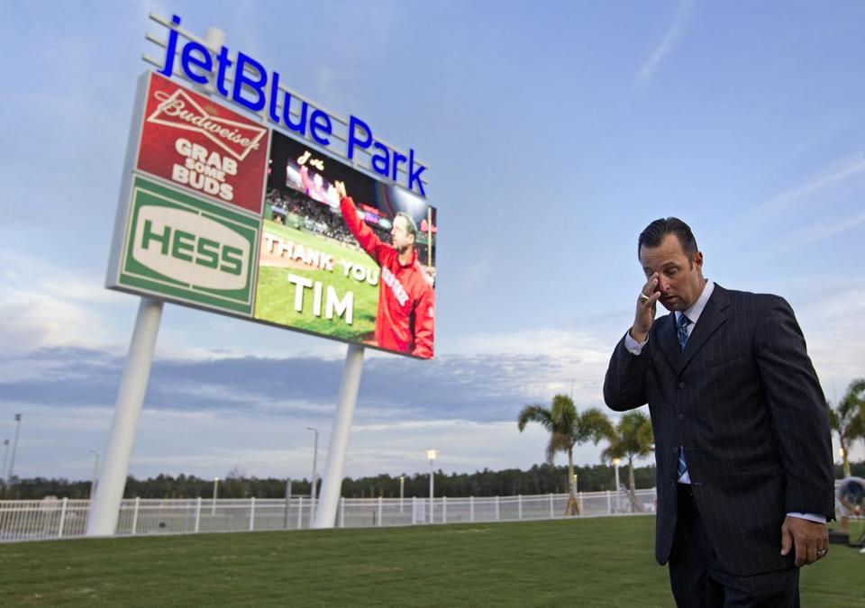 Tim Wakefield got emotional as video screen displayed a dedication to him.