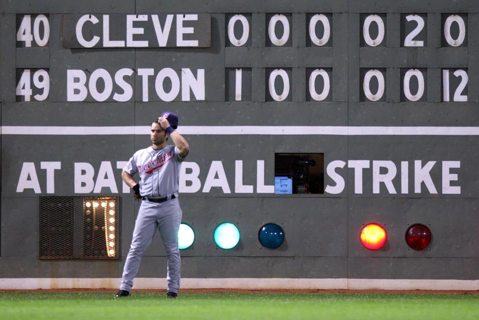 The Red Sox' 12-run sixth inning hung on the left field wall behind Indians outfielder David Dellucci.