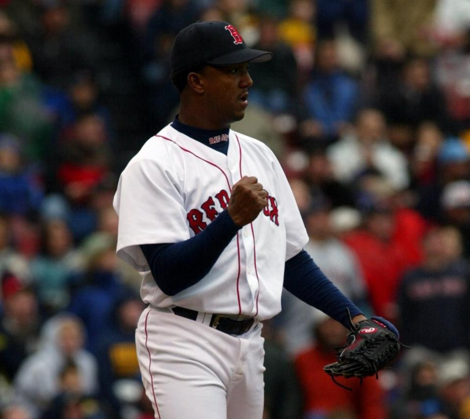 Pedro Martinez was pumped after pitching out of trouble in the third inning.