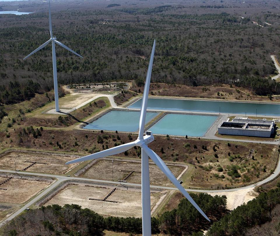 In Falmouth, a wind turbine had been ordered shut down by the state because tests showed it exceeded noise standards.
