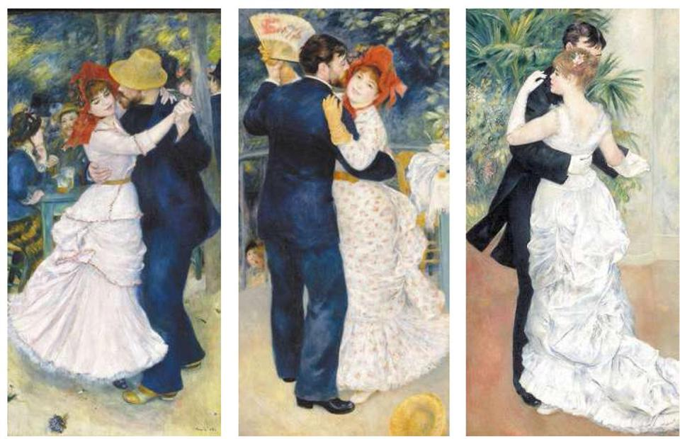 "Renoir paintings (from left) ""Dance at Bougival,"" ""Dance in the Country,'' and ""Dance in the City.'' ­"