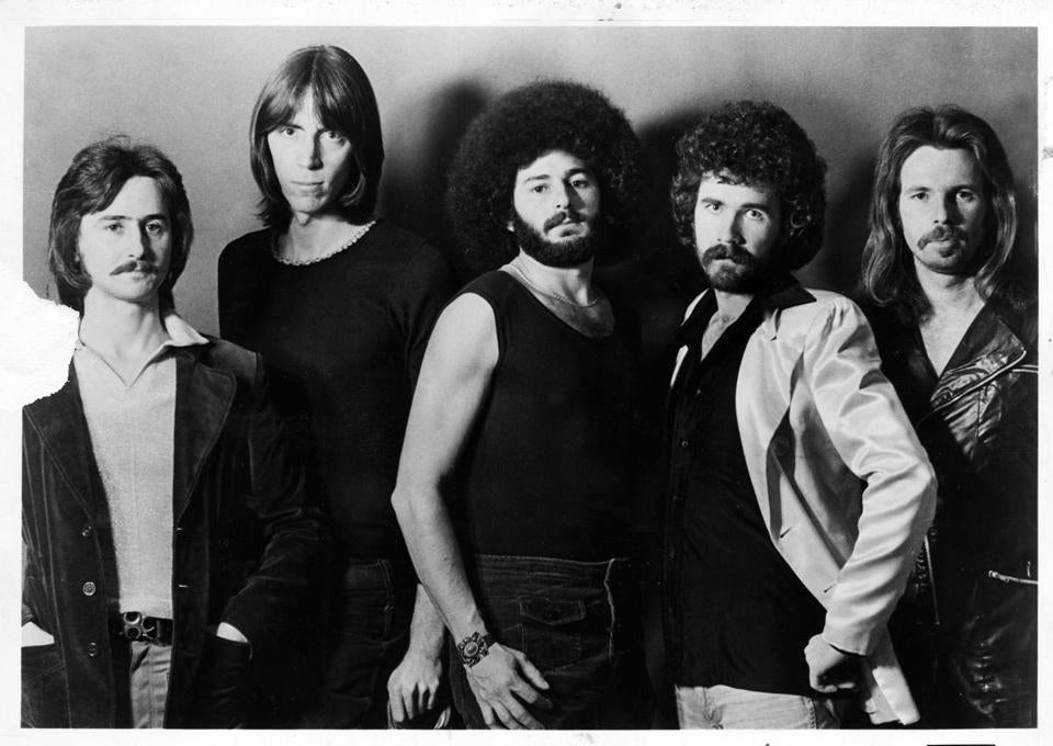 The band Boston — (from left) Barry Goudreau, Tom Scholz, Sib Hashian, Brad Delp, and Fran Sheehan — in their heyday.