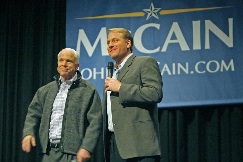 Manchester,NH 12/05/07: During a presidential campaign event held in the auditorium of the Derryfield School, republican candidate Sen. John McCain was joined by Boston Red Sox pitcher Curt Schilling. (Jim Davis/Globe Staff) section:metro slug:06notebook Library Tag 03062008 Names / library tag 09042009 op-ed