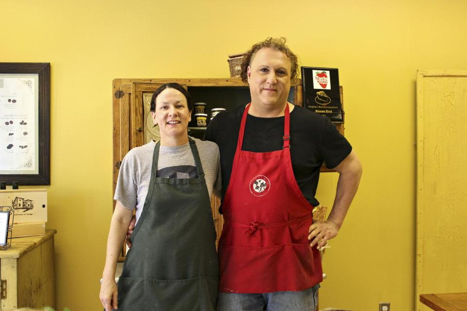 Mary and Robert Gonsalves run The Bloomy Rind in Hingham. She is the cheesemonger, he is the chef. The store also offers sausages, chutneys, and mustards.