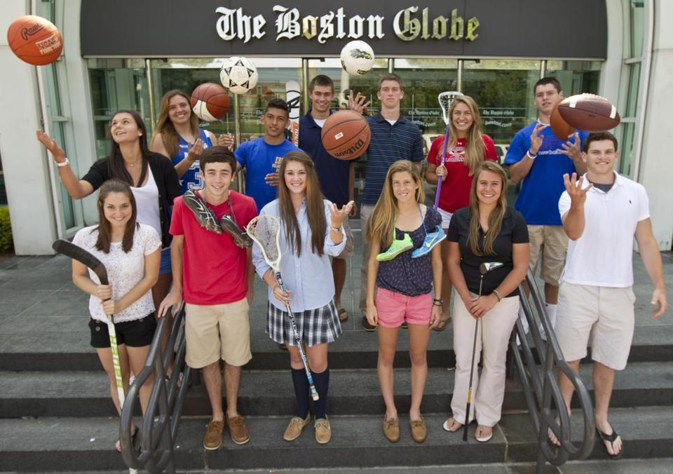 The 2012 Boston Globe/Richard Phelps Scholar-Athletes: Back row, from left, Fairhaven's Kara Charette, East Boston's Maria Delvecchio and Carlos Ruiz, Hingham's Simon Merryweather, St. John's Prep's DeKlan Robinson, Lincoln-Sudbury's Madison Acton, and Everett's Jonathan DiBiaso. Front row, from left, Dedham's Tara Celata, Somerset Berkley's Thomas Carroll, Lowell Catholic's Shelagh Brice, Cambridge's Emma Payne, Tantasqua's Olivia Brooks, and Marblehead's Will Quigley.