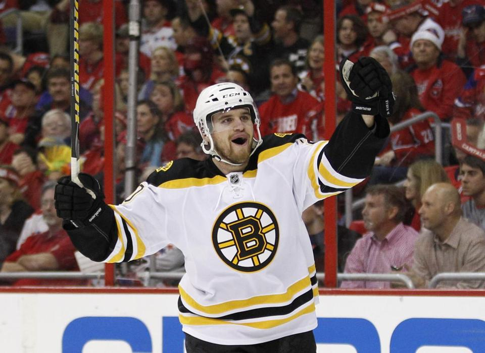 Boston Bruins left wing Daniel Paille in a first-round NHL Stanley Cup playoff hockey series against the Washington Capitals in April.