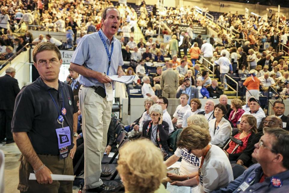 Delegate William Eddy tallied votes during the state Democratic Party's convention in 2012.