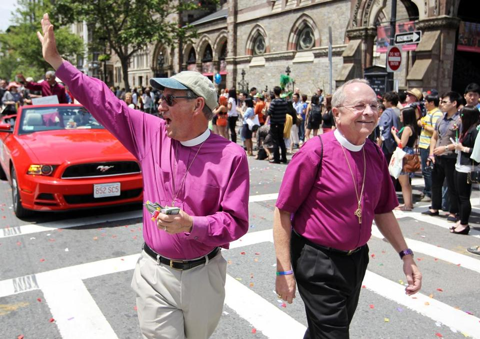 Episcopal Bishops Thomas Shaw (left) and Gene Robinson marched in this year's gay pride parade in Boston