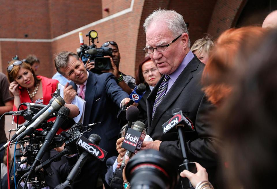 Catherine Greig's attorney, Kevin Reddington, spoke with the press during his client's sentencing hearing in South Boston Tuesday.