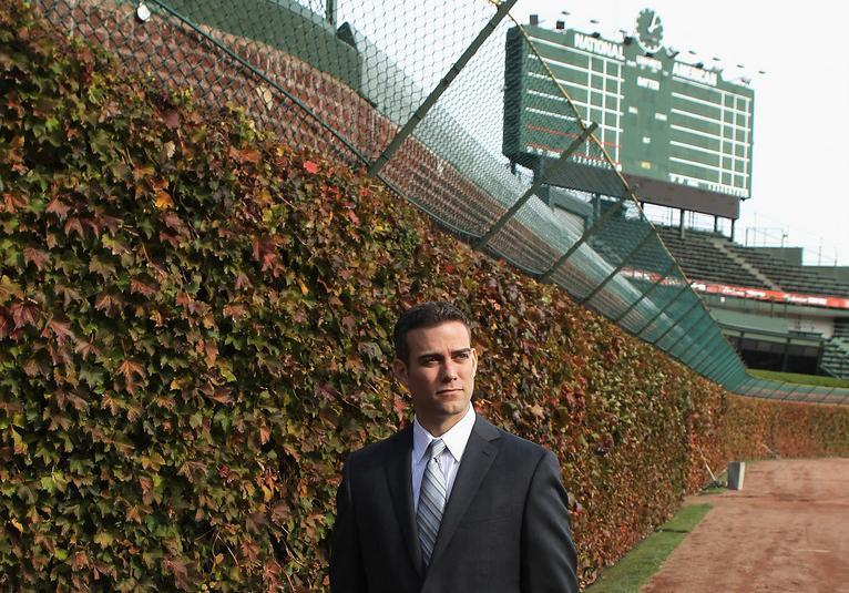 Theo Epstein is seen near the ivy at Wrigley Field last October, just after being named president of baseball operations for the Chicago Cubs.