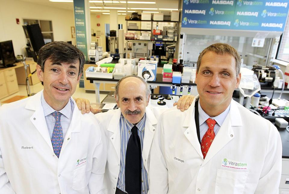Verastem executives (from left) Robert Forrester, Robert Weinberg, and Christoph Westphal.